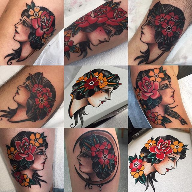 Gorgeous Floral Lady Tattoos by Jon Ftw