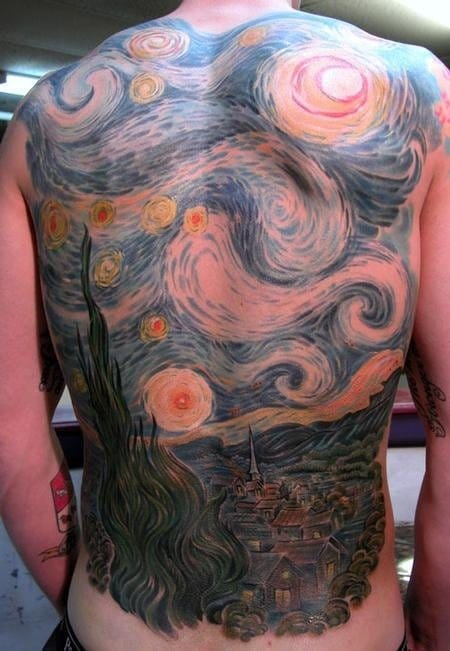 starry, starry night artwork tattoo