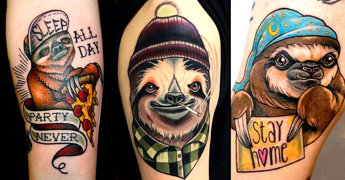 10 cute and charismatic sloth tattoos tattoodo. Black Bedroom Furniture Sets. Home Design Ideas