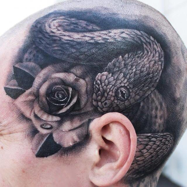 Whistling inside your ear forever... stunning scalp tattoo by Tye Harris!