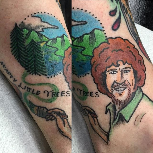 10 Artistic Bob Ross Tattoos