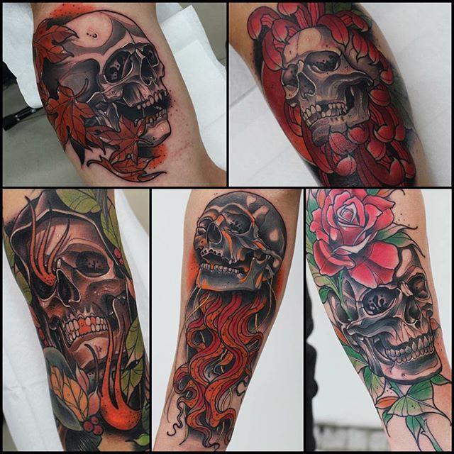 Fantastic Neo Traditional Skull Tattoos by Lucas Ferreira