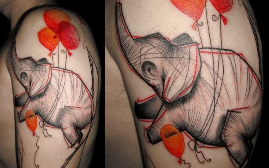 Lovely flying little dude with red balloons by Fabien Belly Button.