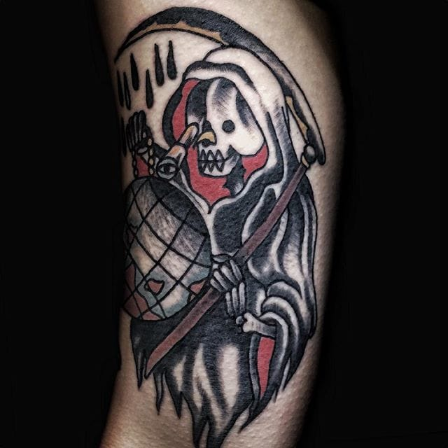 Reaper Tattoo by Osang Kwon #reaper #reapertattoo #traditional #traditionaltattoo #oldschool #oldschooltattoo #darktraditional #darkoldschool #darktattoos #OsangKwon