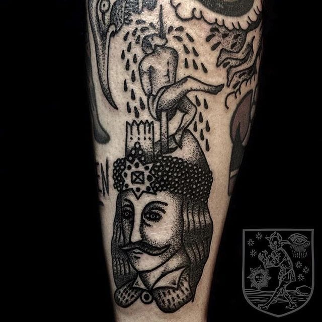 Vlad The Impaler Tattoo by Osang Kwon #vladtheimpaler #traditional #traditionaltattoo #oldschool #oldschooltattoo #darktraditional #darkoldschool #darktattoos #OsangKwon