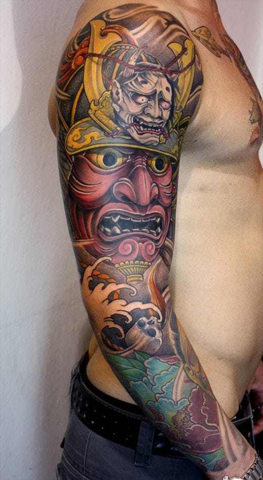 A beautiful Samurai mask sleeve by Kostas Tzikalagias for Japanese art lovers.