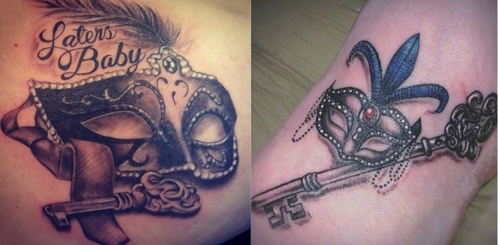 And bonus: do you have tattoos related to the 50 shades of Grey's phenomenon??? Some mask tattoos from the books here (Black Eye Studio left, unknown artist right).