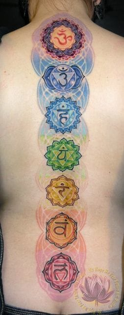 The spine is important in a spiritual and medical way. Colorful chakras spine tattoos by James Kern. #spine #spinetattoos #spiritual #chakras #colorful