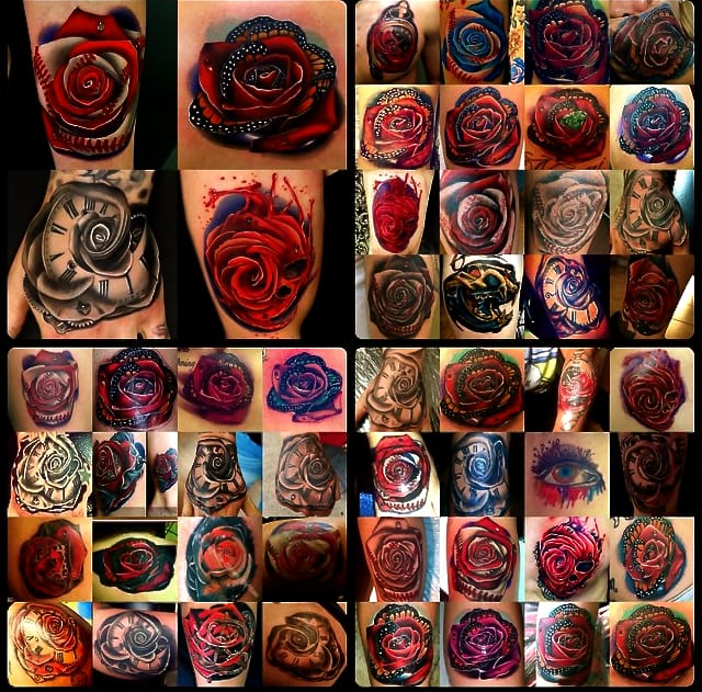 Top left is work by Andrés Acosta, the others are imitations of his signature rosemorph.