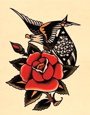"""This traditional tattoo flash represents the idea that """"Love is Freedom."""""""