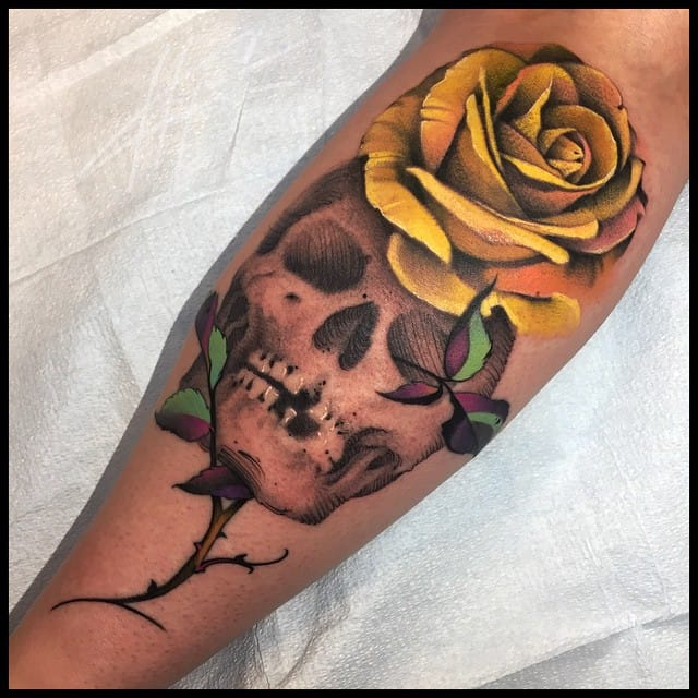 A gorgeous skull and rose piece by our friend Nick Chaboya (USA)!