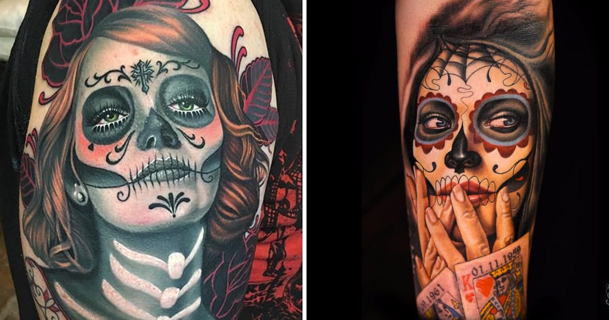 13 beautiful yet foreboding tattoos of la catrina tattoodo. Black Bedroom Furniture Sets. Home Design Ideas