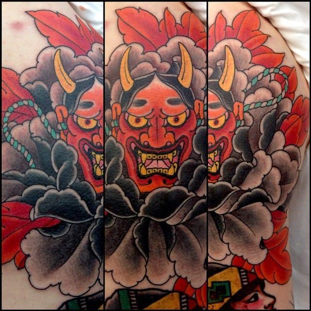 japanese demon in fire