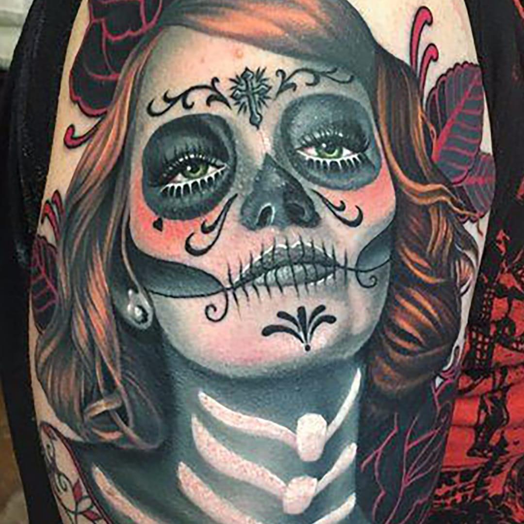 13 Beautiful yet Foreboding Tattoos of La Catrina