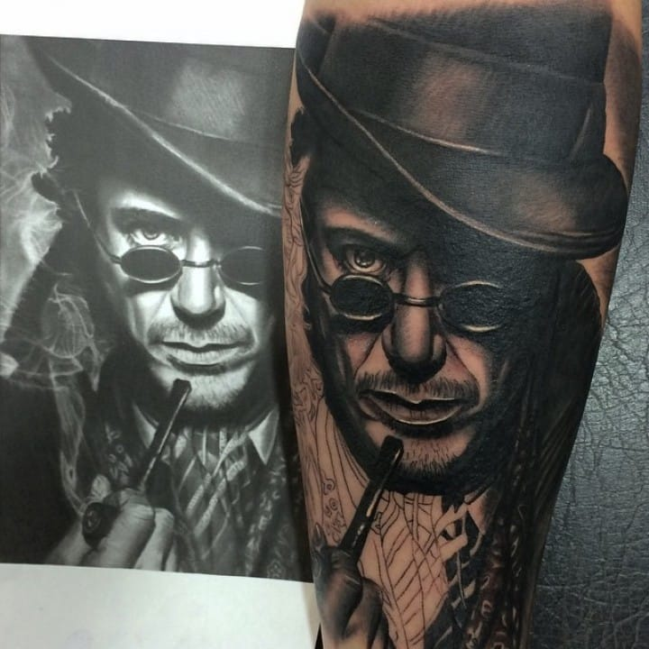 Work in progress on this Robert Downey Jr Sherlock tattoo in black and grey style by Jumila.