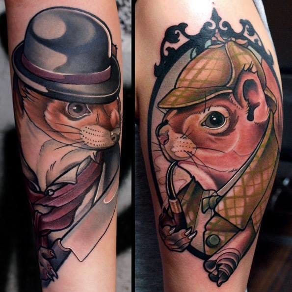 Cute squirrels Sherlock Holmes tattoos with Holmes and Moriarty by Iwan.