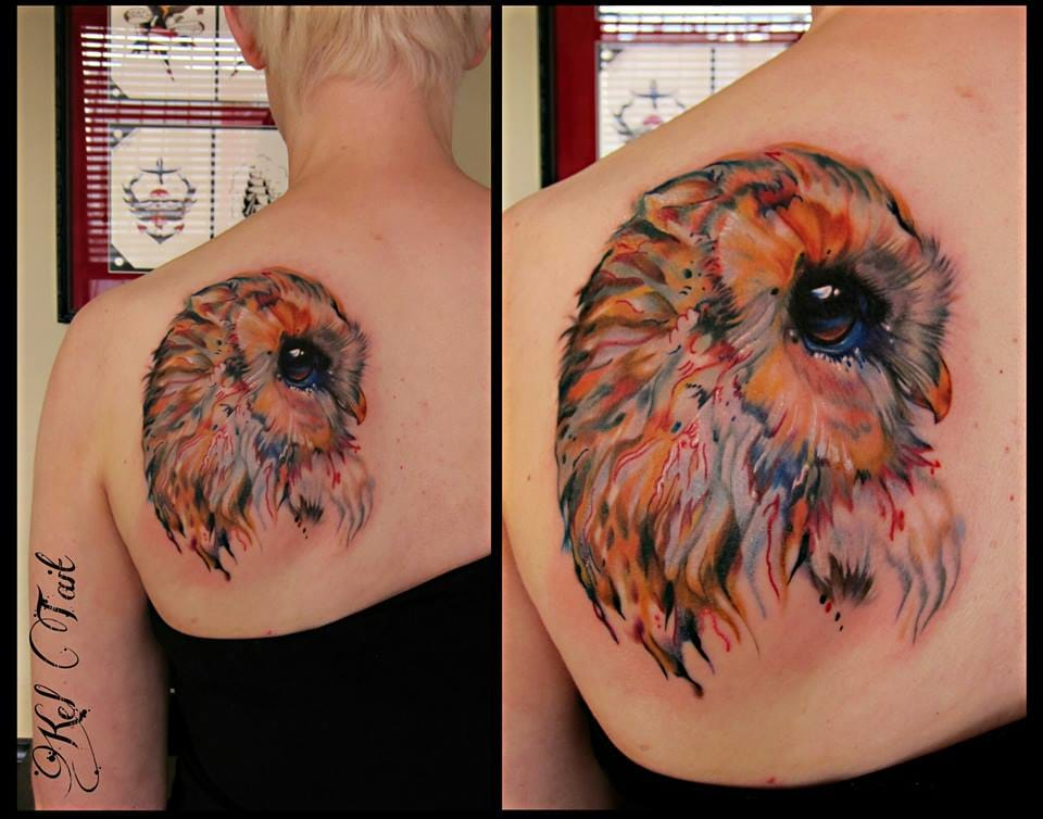 Watercolor owl tattoo by Kel Tait.