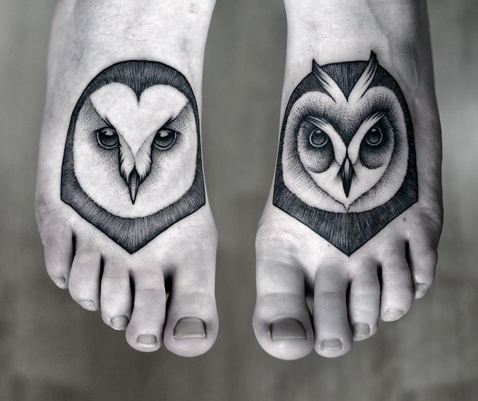 Elegant feet tattoos by Kamil Czapiga...