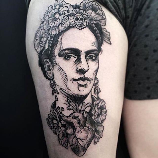 Sharp Blackwork Portrait Tattoos by Phil Kaulen