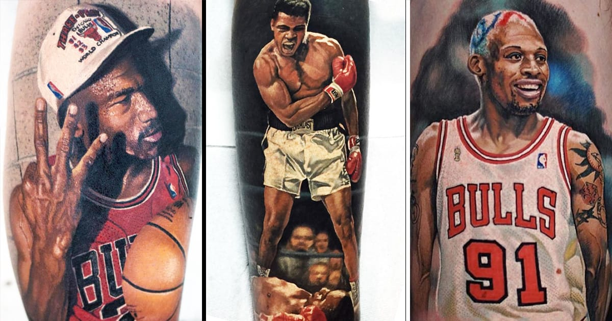 steve butcher 39 s realistic sports portraits tattoodo. Black Bedroom Furniture Sets. Home Design Ideas
