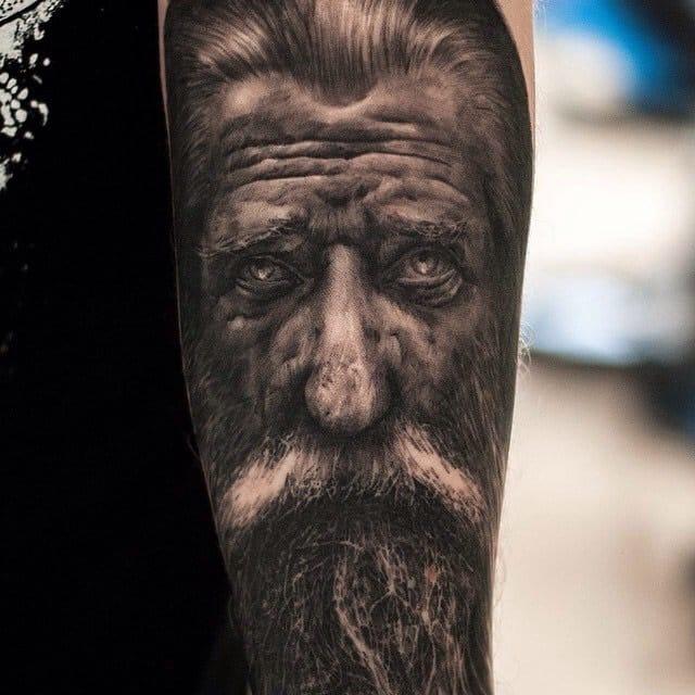 Portrait tattoo by Oscar Akermo
