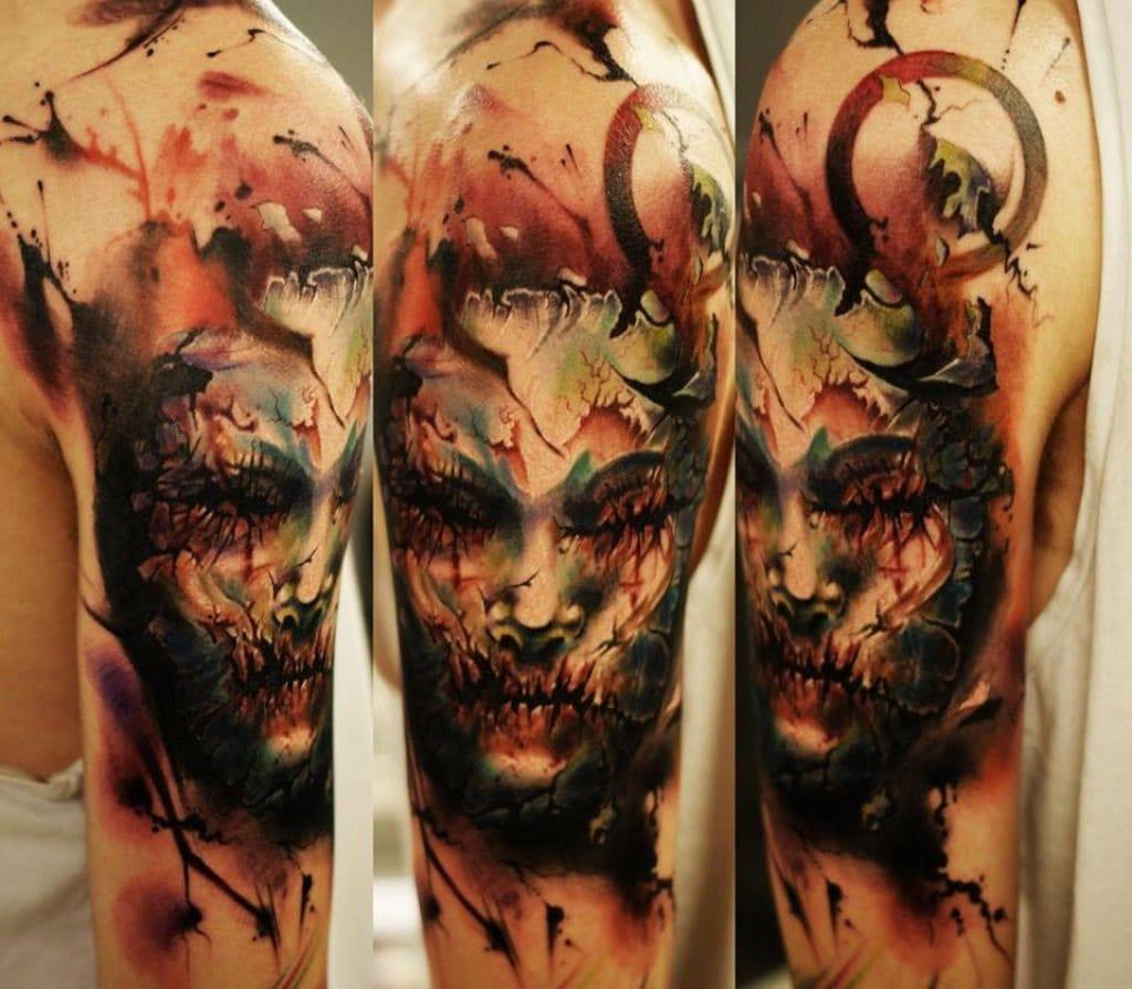 Horror portrait tattoo by Oscar Akermo