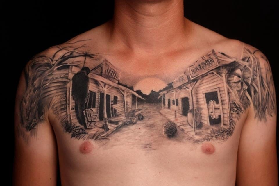 Awesome Ghost Town by Gabe Tenneson of Transformation Tattoo