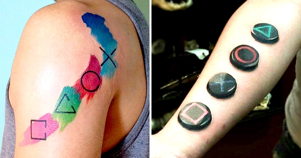Playstation tattoos that prove it 39 s never game over tattoodo for Tattoo shop games