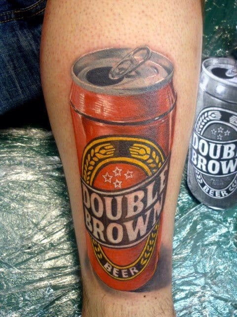 Double brown beer tattoo