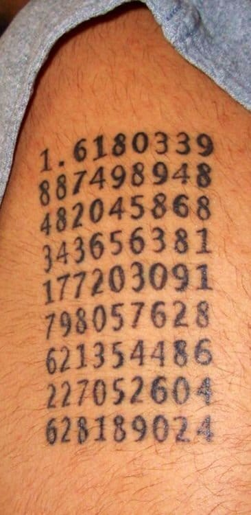 The Golden Ratio tattoo .... Extended up to 80 digits!
