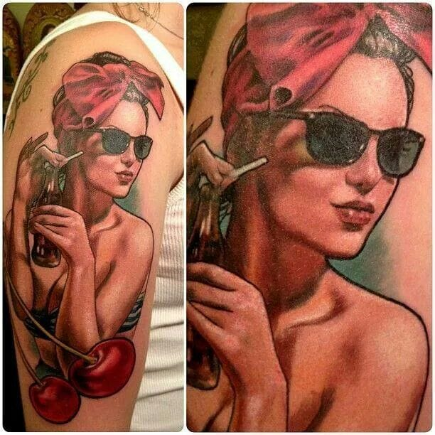 How about some Coca-Cola pinups?? Awesome tattoo by Nick Morte