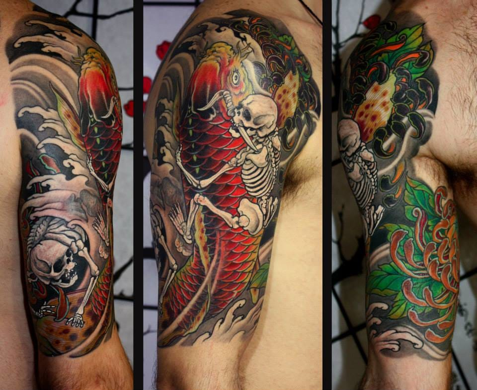 A fun version of a Japanese traditional tattoo theme, the fight between the fisherman and the koi! By Kostas Tzikalagias.