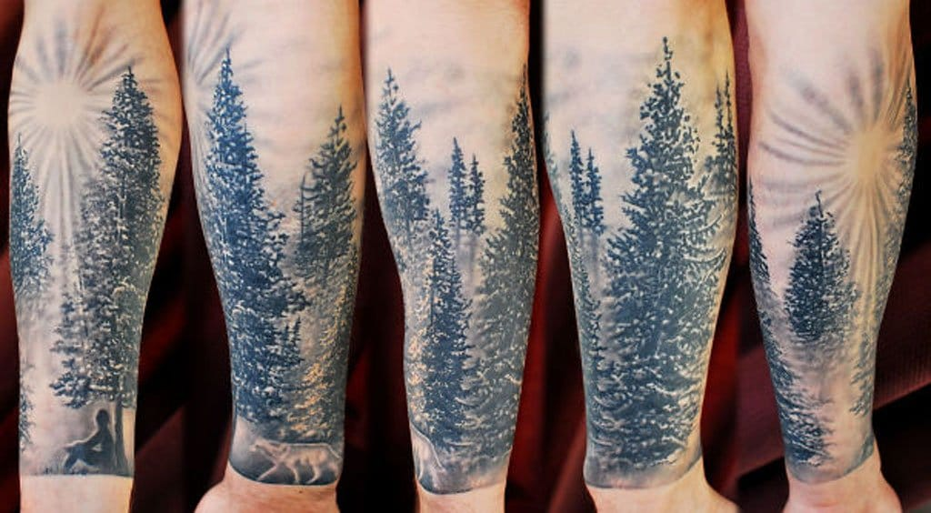 Nice effects on this forest tattoo made at Tattoo Frequency.