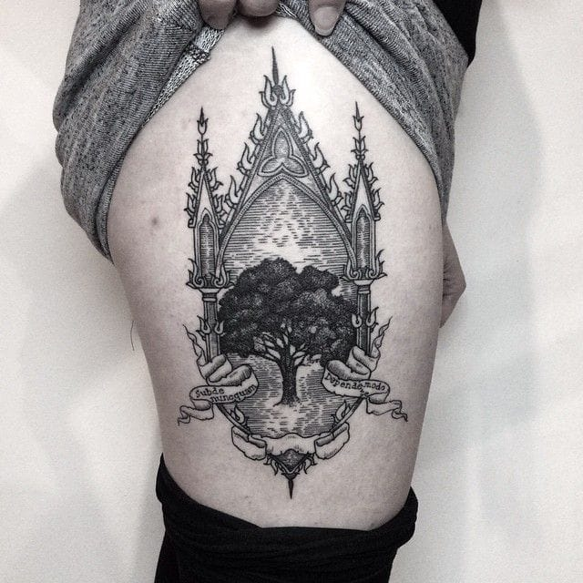 Epic tree tattoo by Silwou!