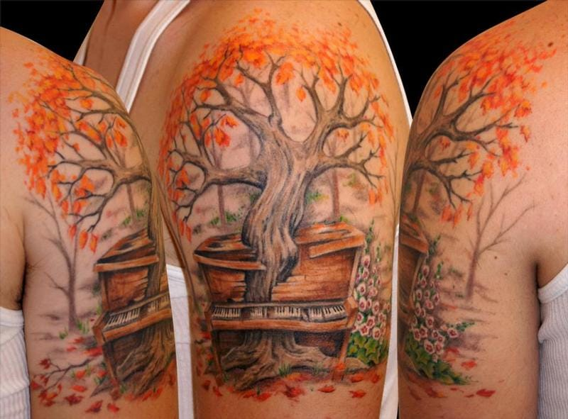 Poetic Fall tree growing in a piano by Sharon Lynn.