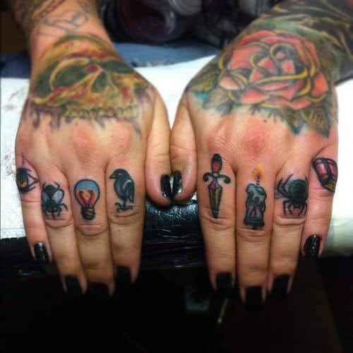 Awesome finger tattoos. Artist unknown. #finger #fingertattoos