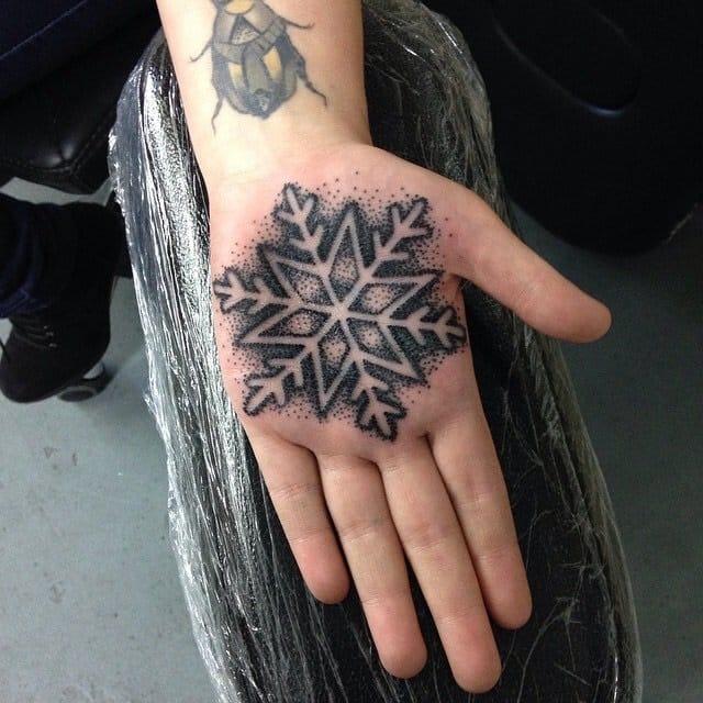 Dotwork snowflake. by Olga Banas of Bananas Tattoo Liverpool
