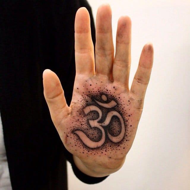 Ohm dotwork tattoo. by Pavla of Body Gallery in Slovakia.