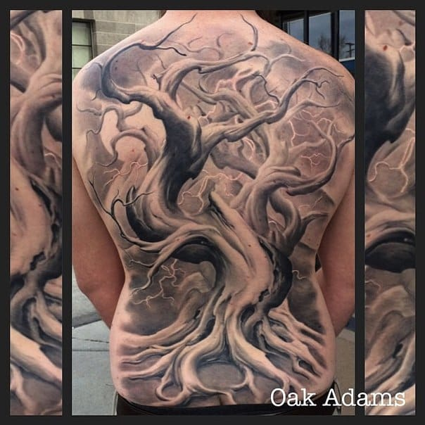 Tattoo Artist Oak Adams is specialized in fantastic black and grey tree tattoos. #oakadams #tree #blackandgrey