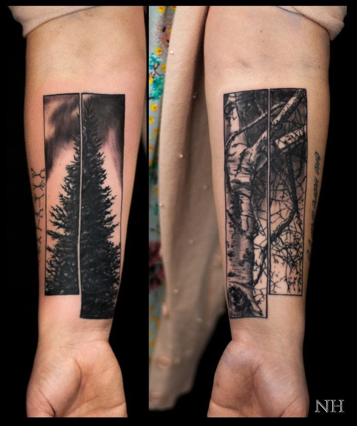 Another creative idea with these two tree tattoos by Nicholas Hart... #tree #treetattos #nicholashart