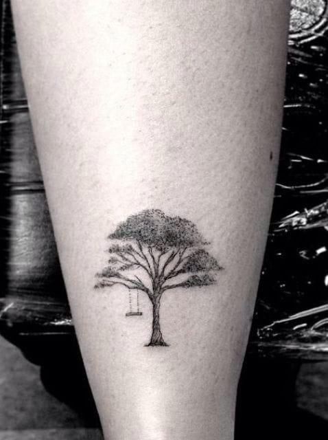 Trees are gigantic. But tree tattoos can be... very small! Miniature tattoo by Dr Woo. #drwoo #tree #delicate