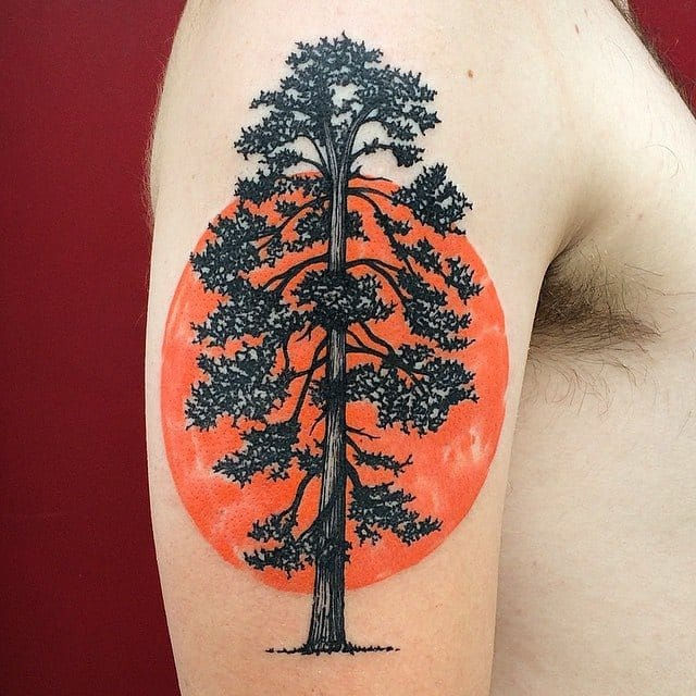 Tree tattoos can be combined also with other elements. This piece by Dino Nemec. #abstract #tree #orange