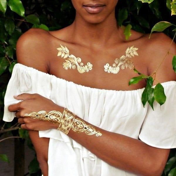 Gold Metallic Tattoos
