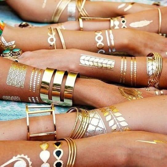 Awesome gold bracelet tattoos