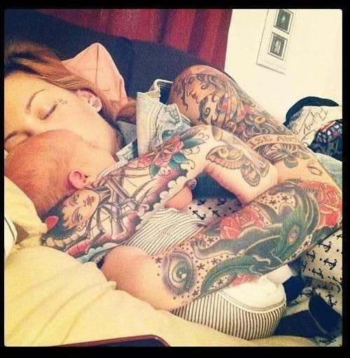 Tattooed mother