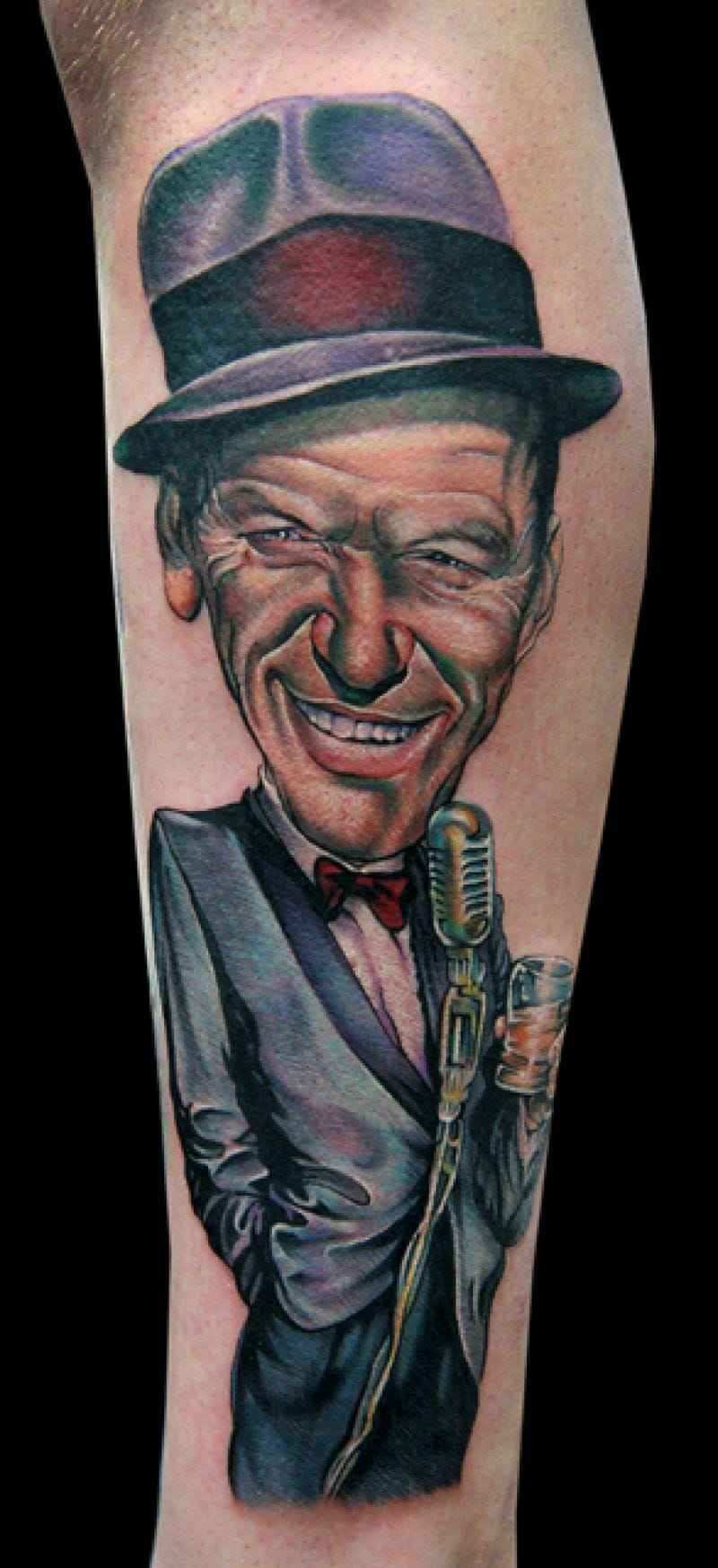 Cecil Porter enjoys caricature the Rat Pack, here Frank Sinatra.