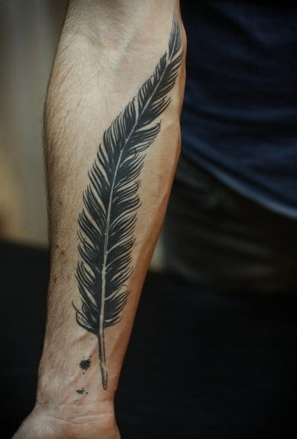 by Alice Carrier of Wonderland Tattoo in Portland, OR.  #feather #feathertattoo