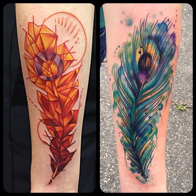 by Melissa Daye of Agape Art Collective in Costa Mesa, CA  #feather #feathertattoo