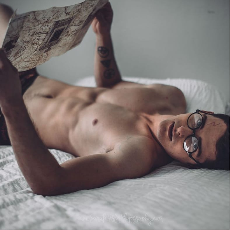 A Boudoir Photo Shoot of a Tattooed Harry Potter 'Accio'-ed Our Hearts