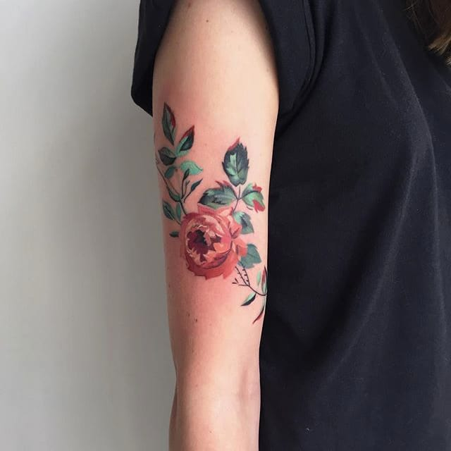 dainty watercolor floral tattoos by amanda wachob tattoodo